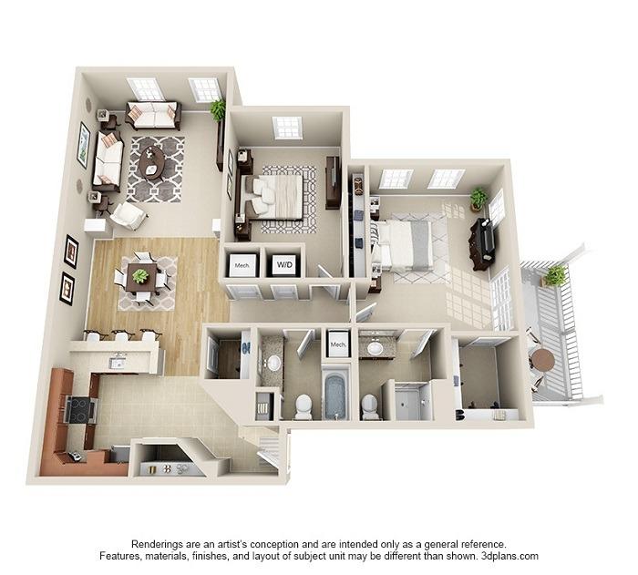 Hoosick : Unit 2A, 2B, 2C, 2D (2-Bedroom)