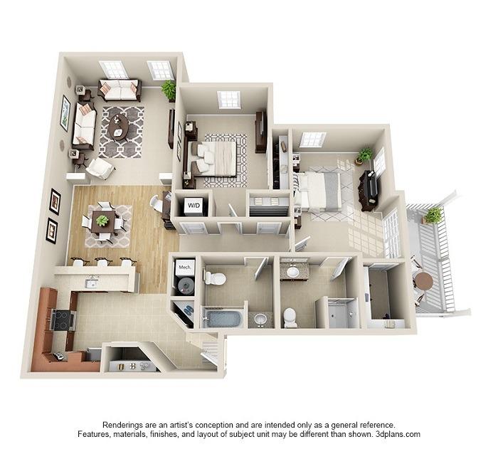 Hoosick : Unit 3B, 3C, 3D (2-Bedroom)