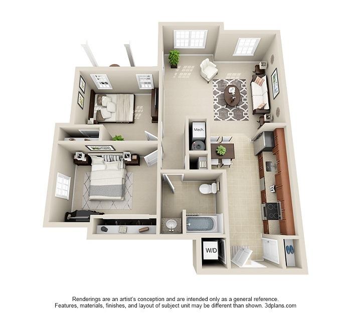 Oakwood : Unit 1A (2-Bedroom)