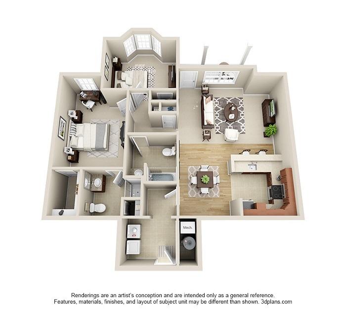 Oakwood : Unit 1B (2-Bedroom)