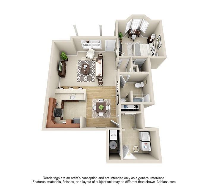 Oakwood : Unit 1C (1-Bedroom)