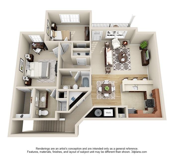 Oakwood : Unit 2B (2-Bedroom)