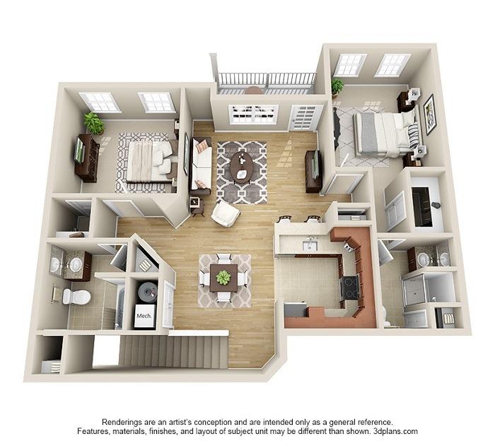 Oakwood : Unit 2C (2-Bedroom)