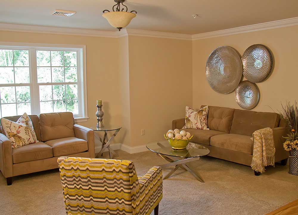 Living room with 2 couches and chair